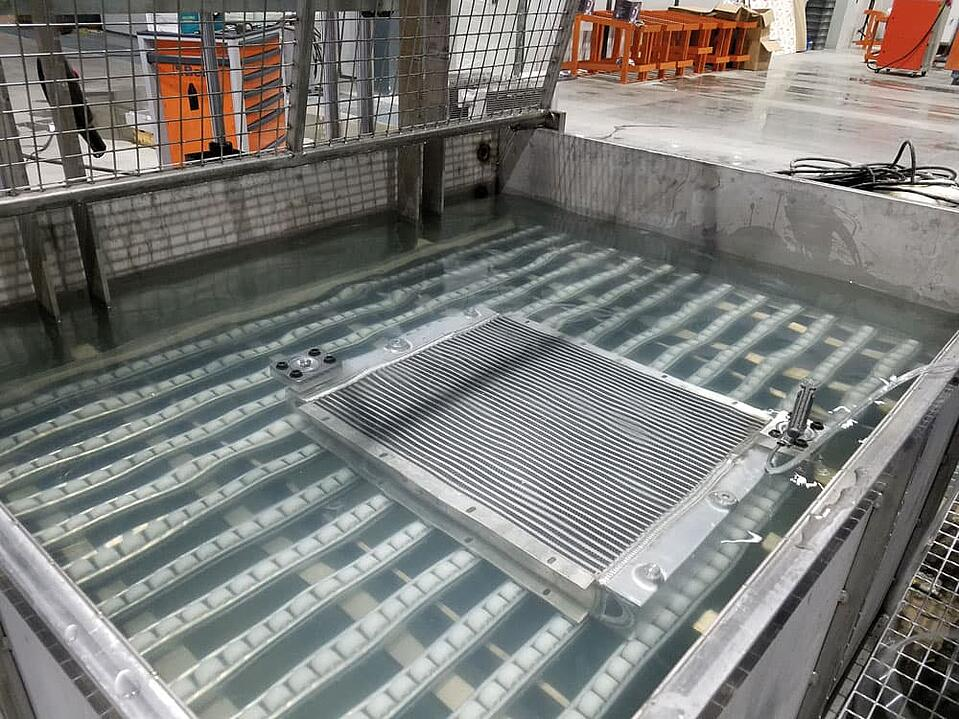 KTR cooler production plant China - Leakage test of the coolers